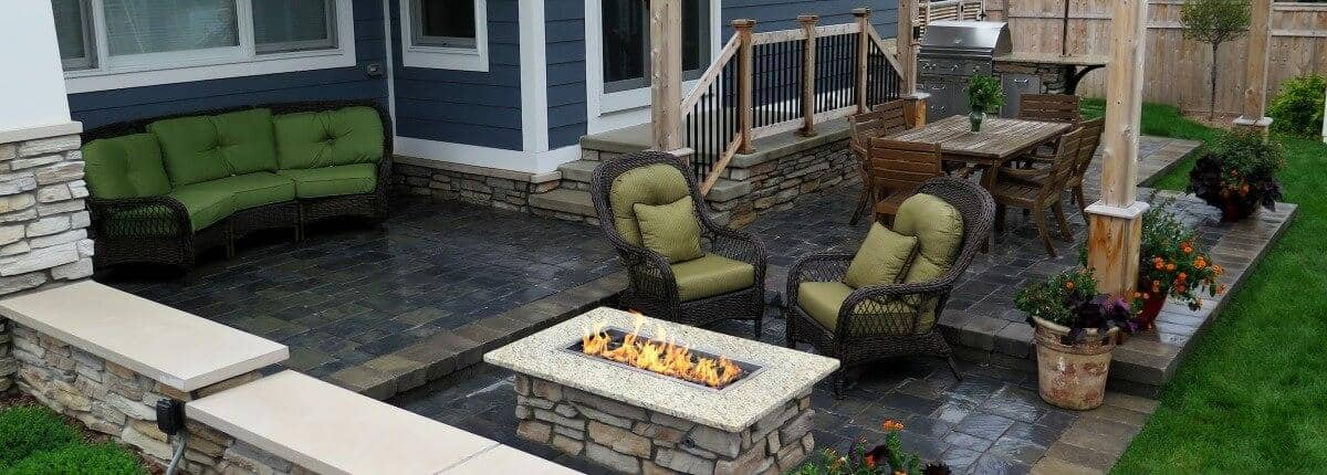 custom patio design outdoor fire