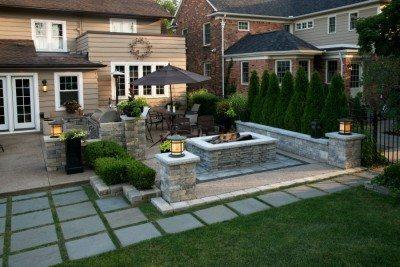 custom fire pit outdoor kitchen mi